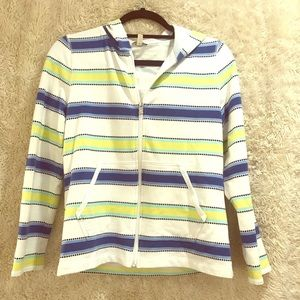 Talbots striped zip up hoodie, small petite.